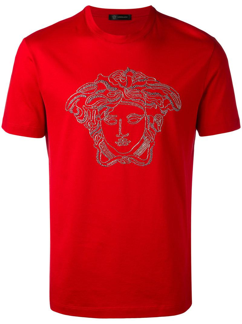 Lyst versace medusa head swarovski t shirt in red for men for Swarovski crystal t shirts