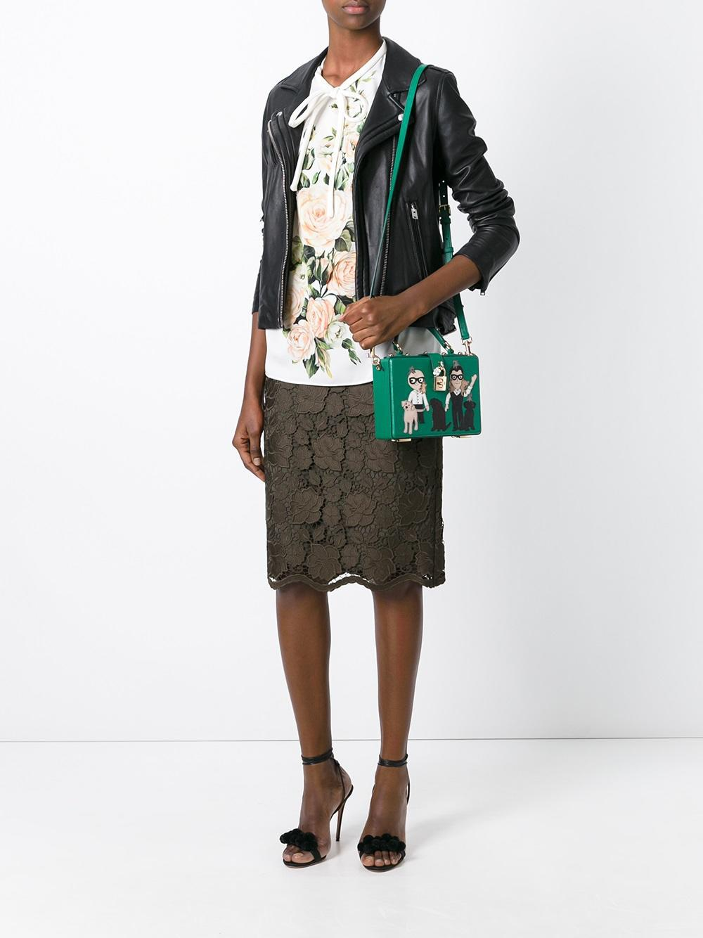Dolce & Gabbana Leather Small 'dolce' Box Tote in Green