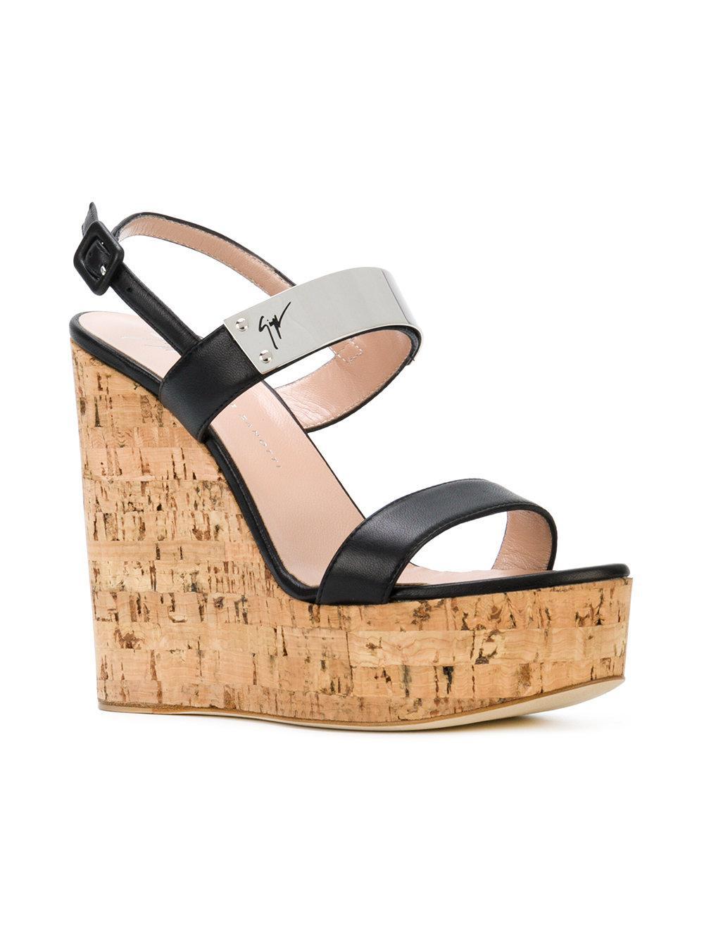 51f752e8f Lyst - Giuseppe Zanotti Cork Wedge Sandals in Black - Save 75%