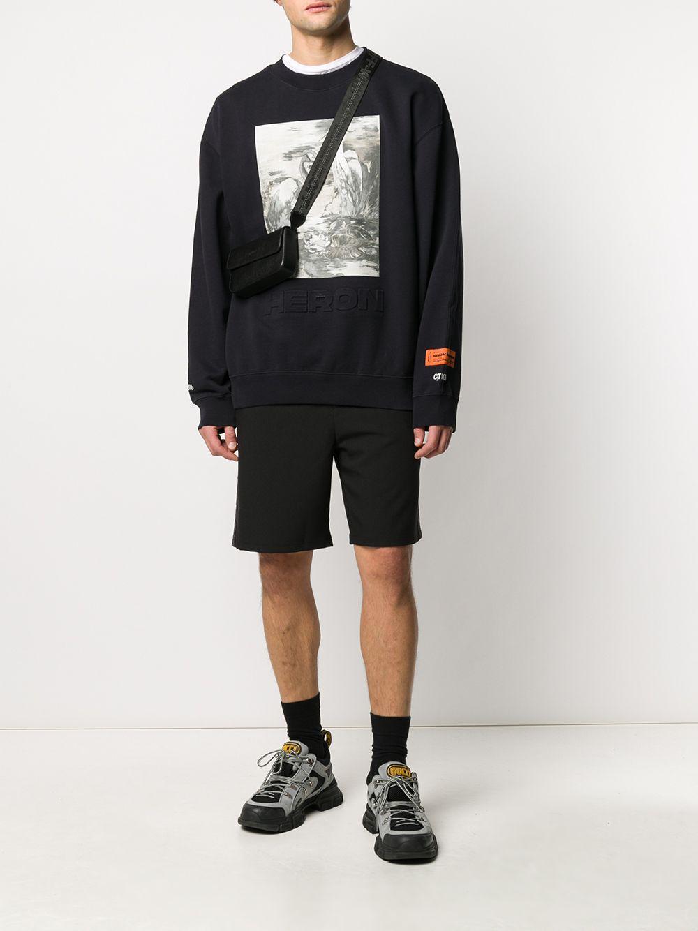 Heron Preston Katoen Sweater Met Vogelprint in het Zwart voor heren