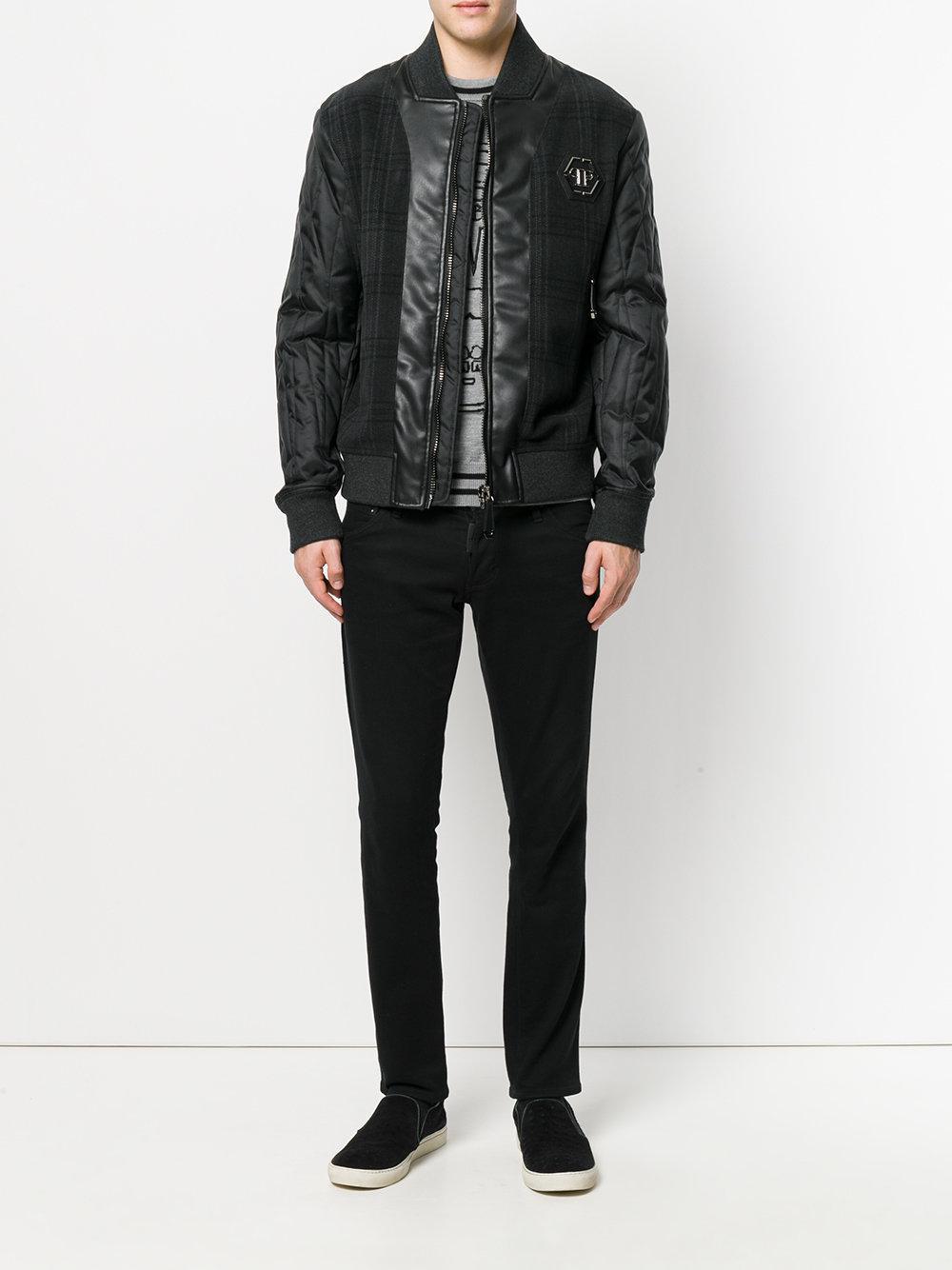 Lyst Philipp Plein Tartan Design Bomber Jacket In Black