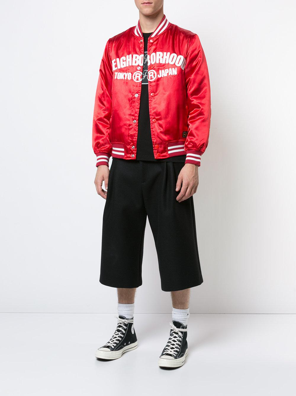 Neighborhood Slogan Print Bomber Jacket in Red for Men
