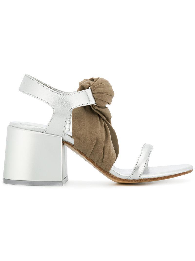 c62eddd9eb6d MM6 by Maison Martin Margiela. Women s Metallic Stocking Block Heel Sandals