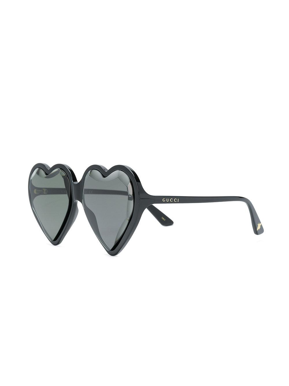 75257364515de Lyst - Gucci Heart-shaped Sunglasses in Black