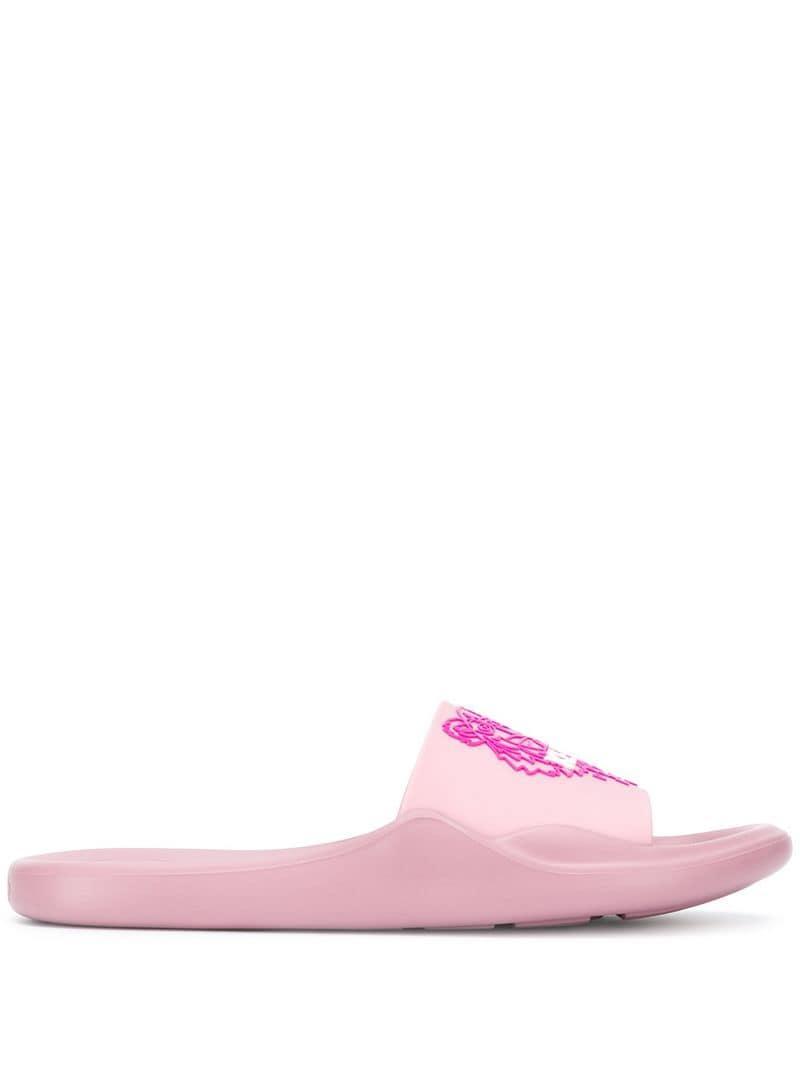 00e43ea8564e KENZO Tiger Slides in Pink - Lyst