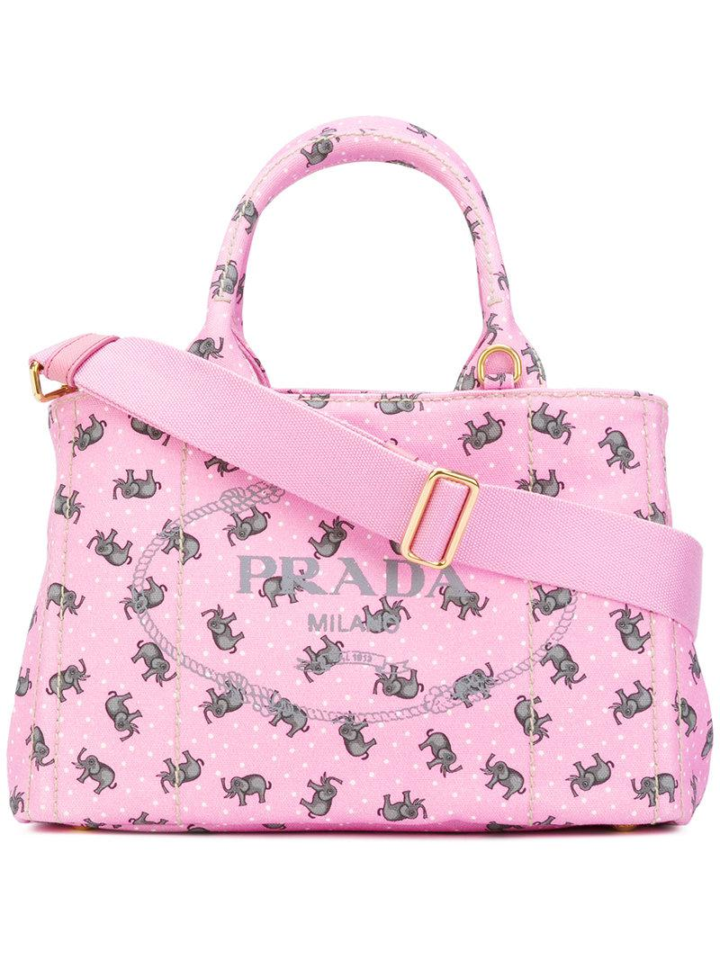 ... where can i buy lyst prada elephants print tote women cotton one size  in pink 56bb6 dfcdfe8e6a0e6