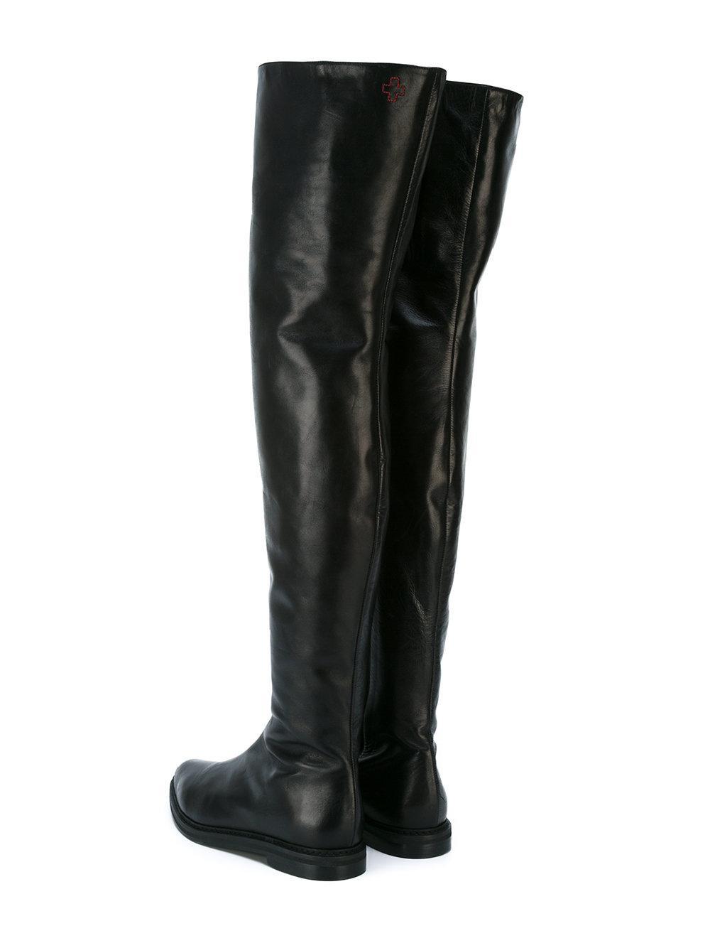 A.F.Vandevorst Leather Over-the-knee Boots in Black
