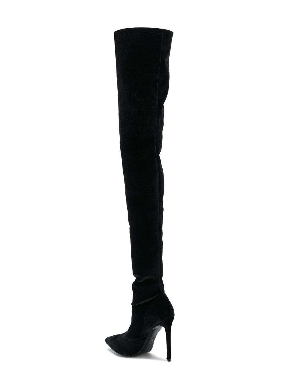 Marc Ellis Leather Thigh-high Heel Boots in Black