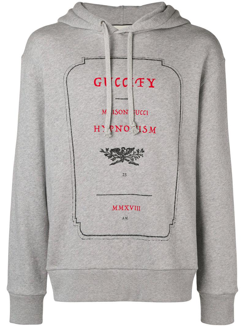 150c84173f014c Gucci Invitation Graphic Print Hoodie in Gray for Men - Lyst