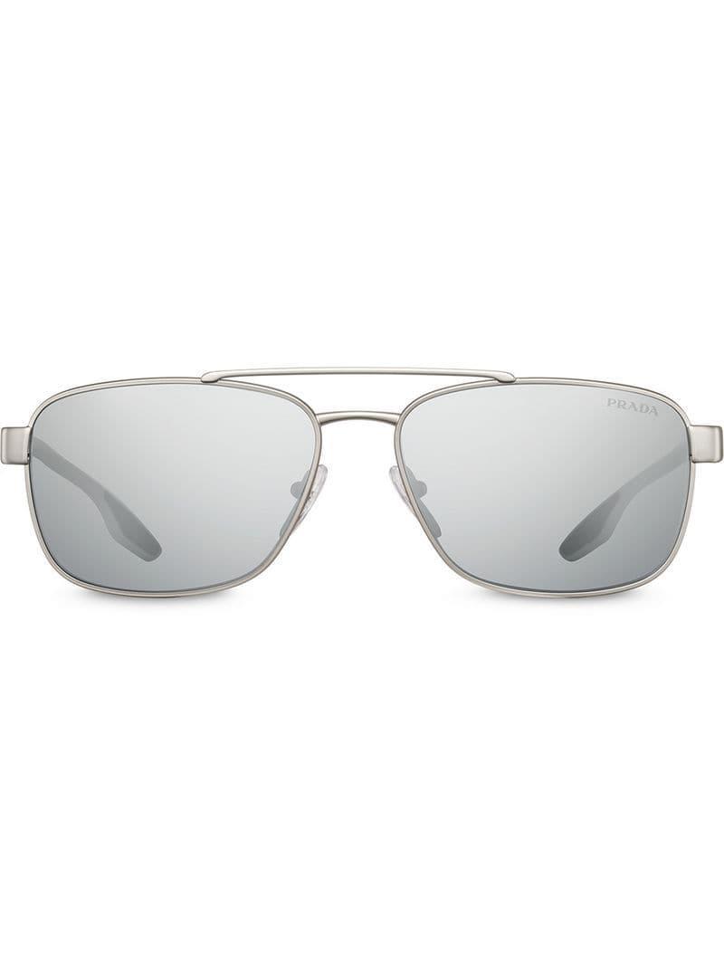 b8606d486fed Lyst - Prada Top Bar Square Sunglasses in Metallic for Men
