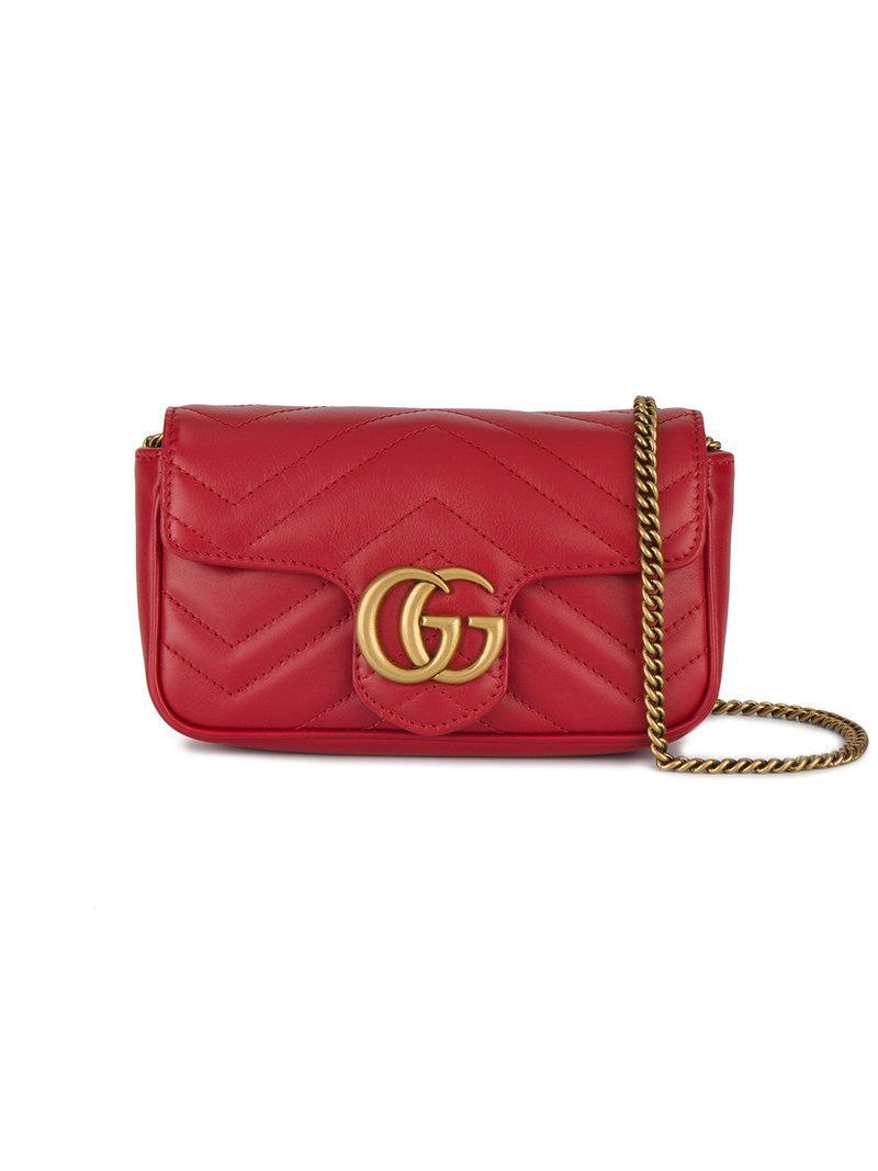 Gucci Super Mini Marmont Matelass 233 Bag In Red Lyst