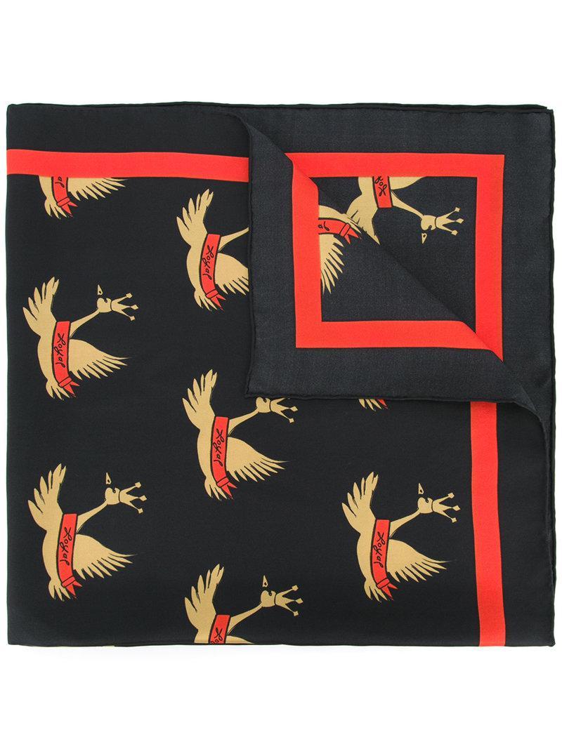 swan print necktie - Black macgraw ggl939