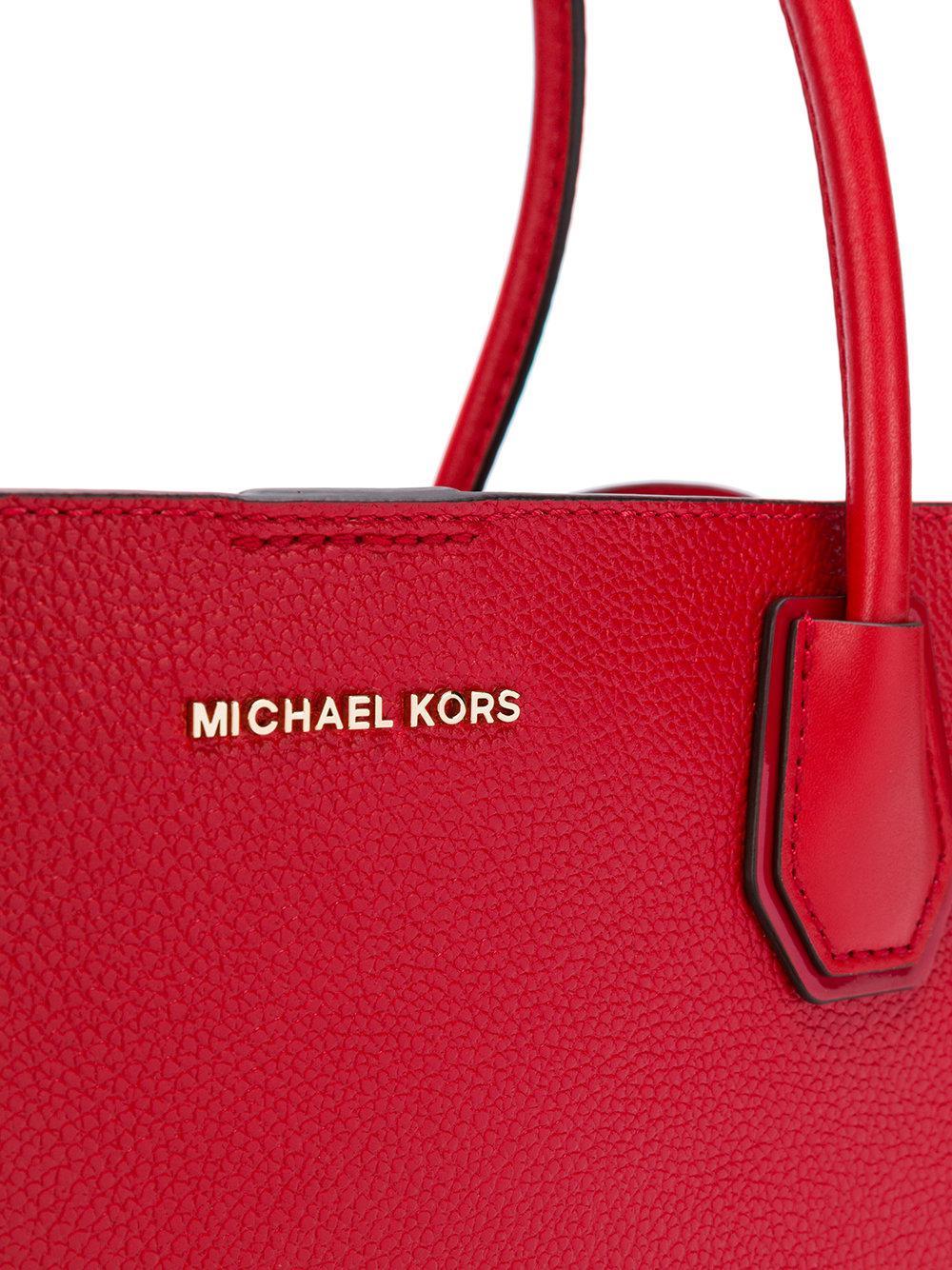 MICHAEL Michael Kors Leather Padlock Tote in Red