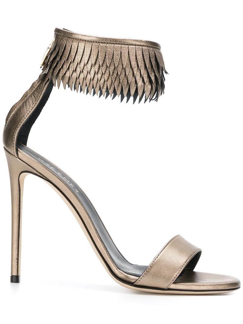 Grey Mer fringed ankle strap sandals cheap comfortable xo9q34A