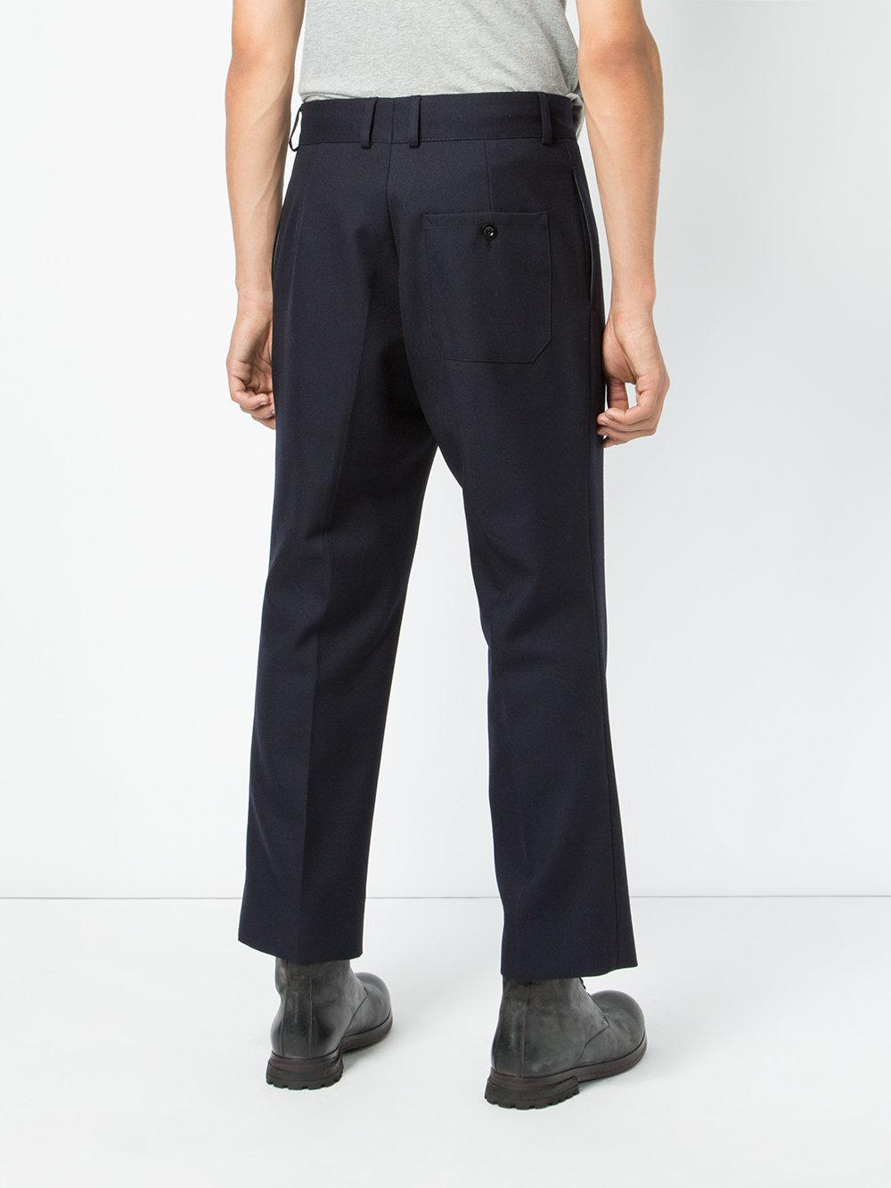 MYAR Wool Cropped Tailored Trousers in Blue for Men