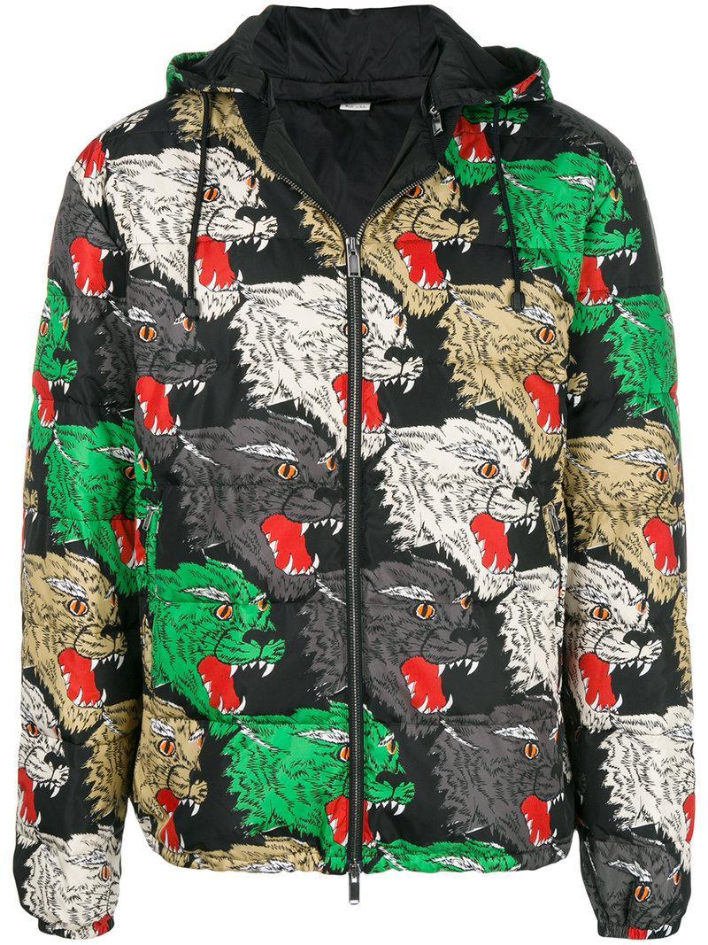 edfc907e13d23 Lyst - Abrigo con estampado de pantera Gucci de hombre de color Negro