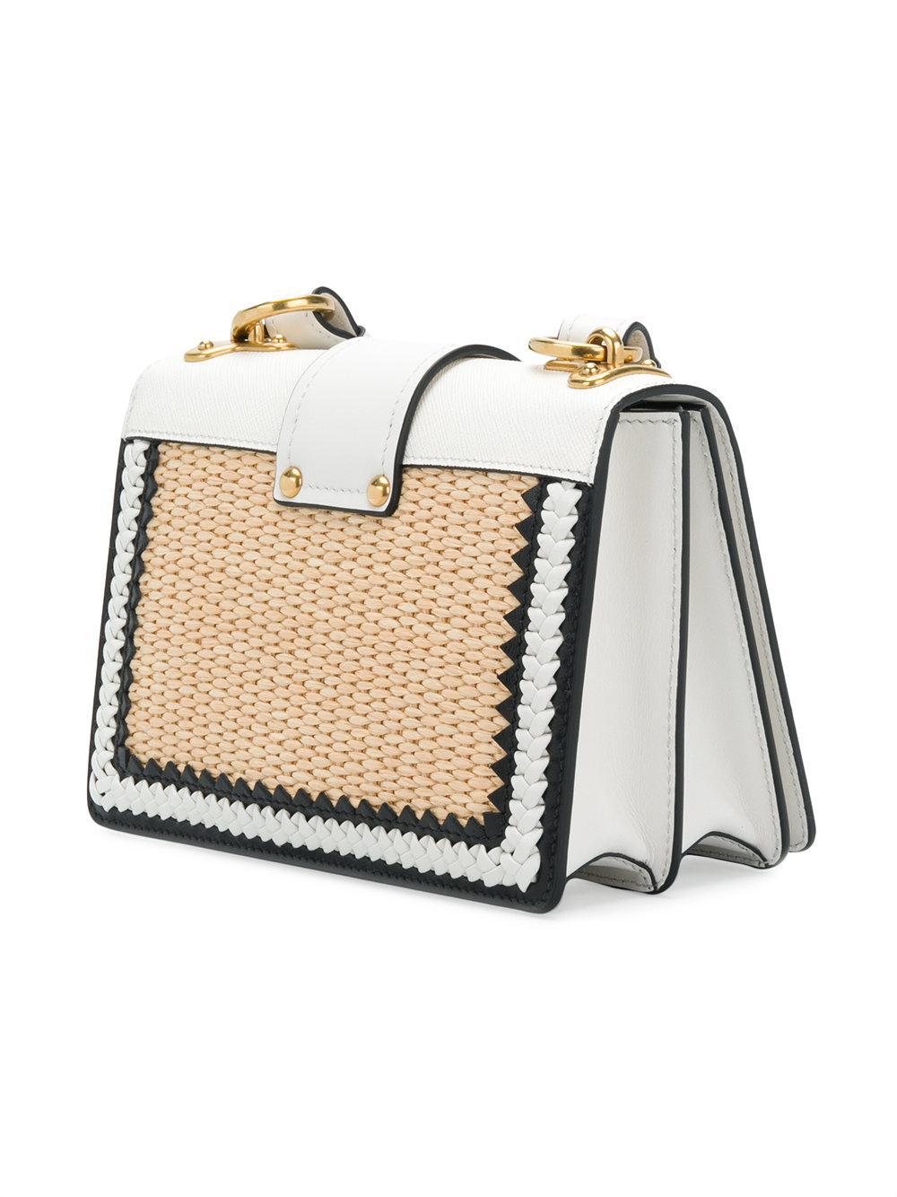 Prada Cahier Straw Shoulder Bag in White - Lyst 97cc8beae9a41