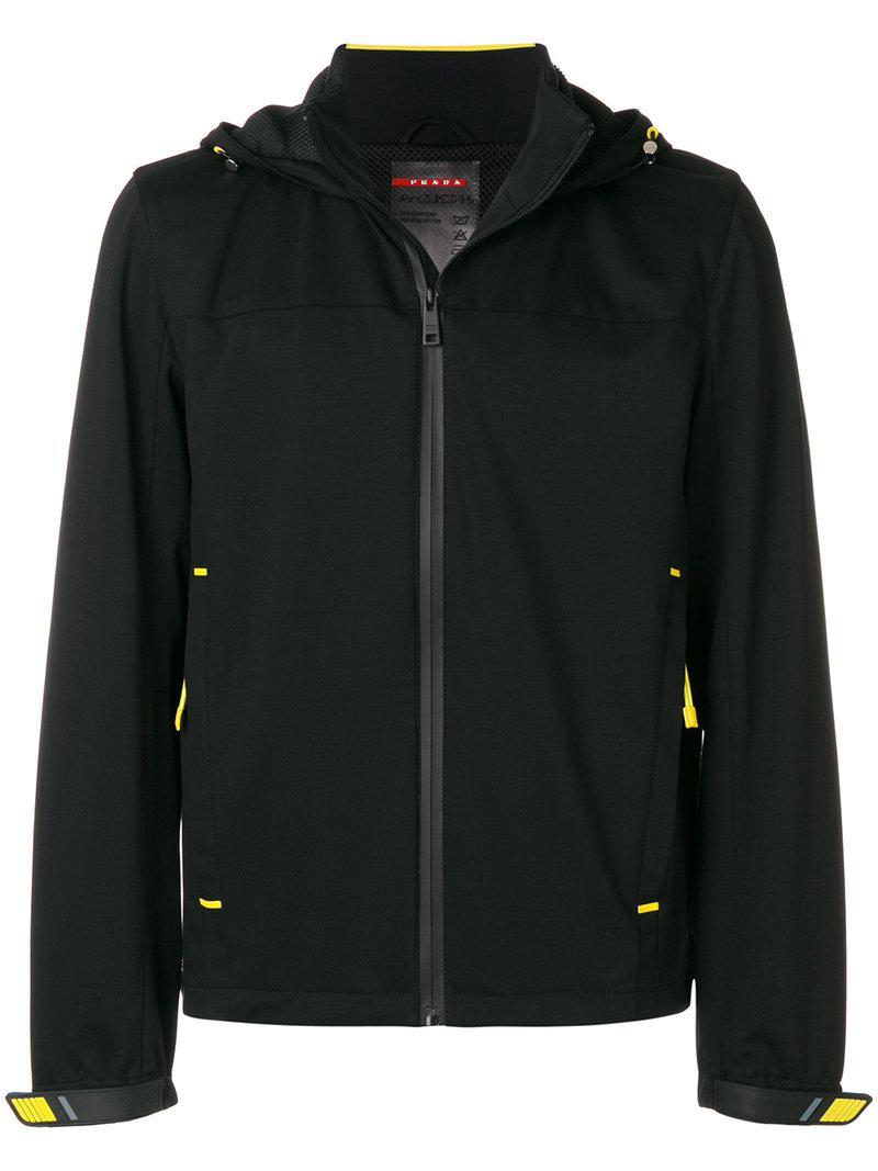Lyst - Sweat zippé à capuche Prada pour homme en coloris Noir 72f041eb353