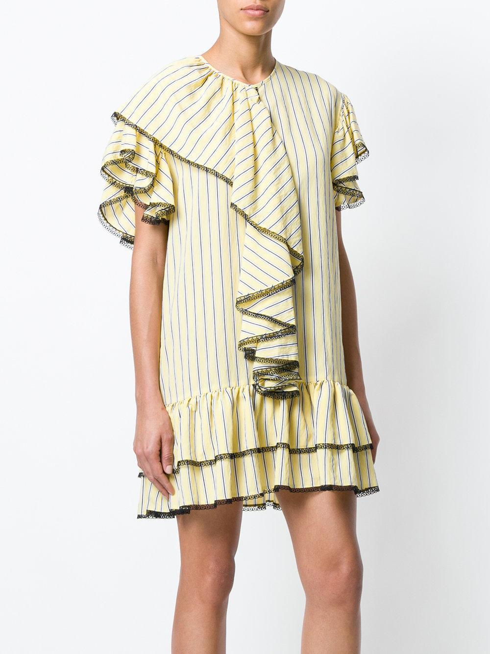ruffled lace trim dress - Yellow & Orange Msgm j5Fi5MD