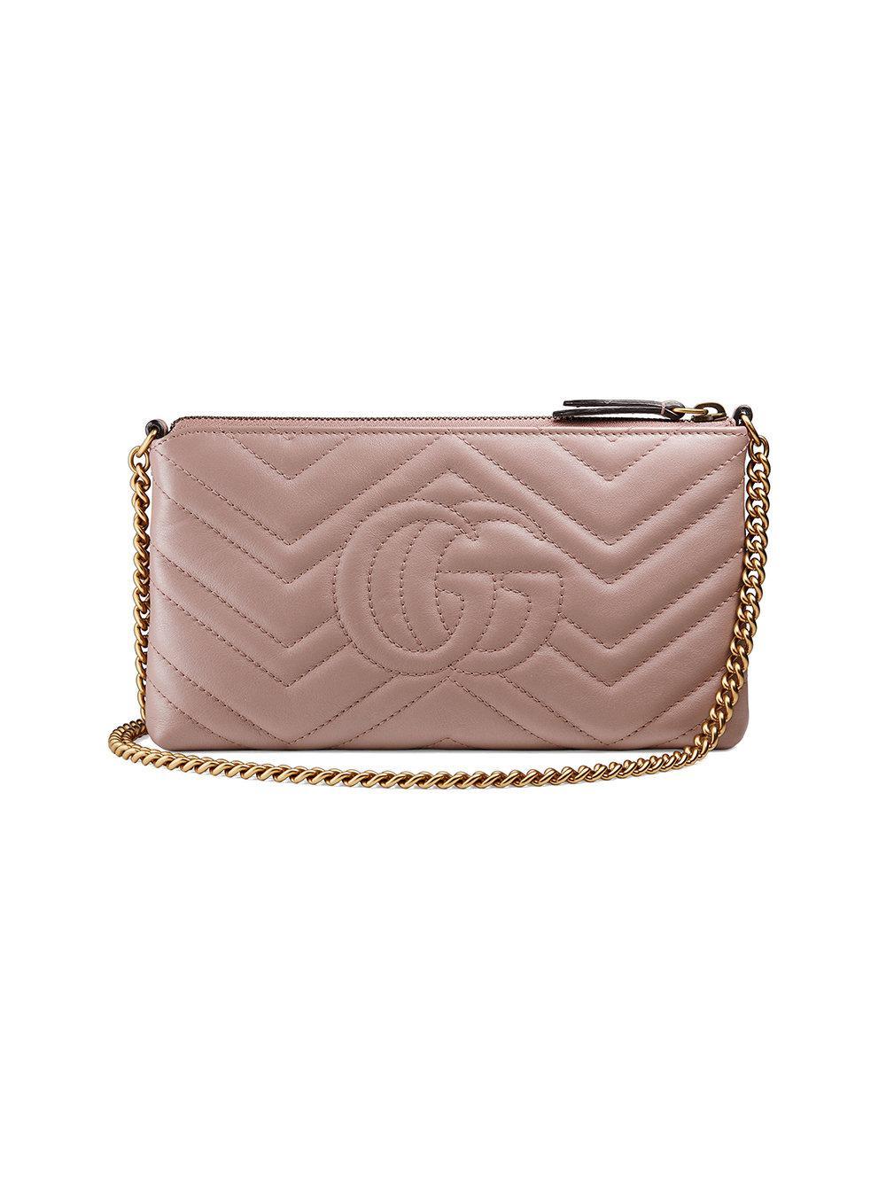Gucci - GG Marmont Pearls & Studs Matelassé Shoulder Bag Nude   Luxury Bags