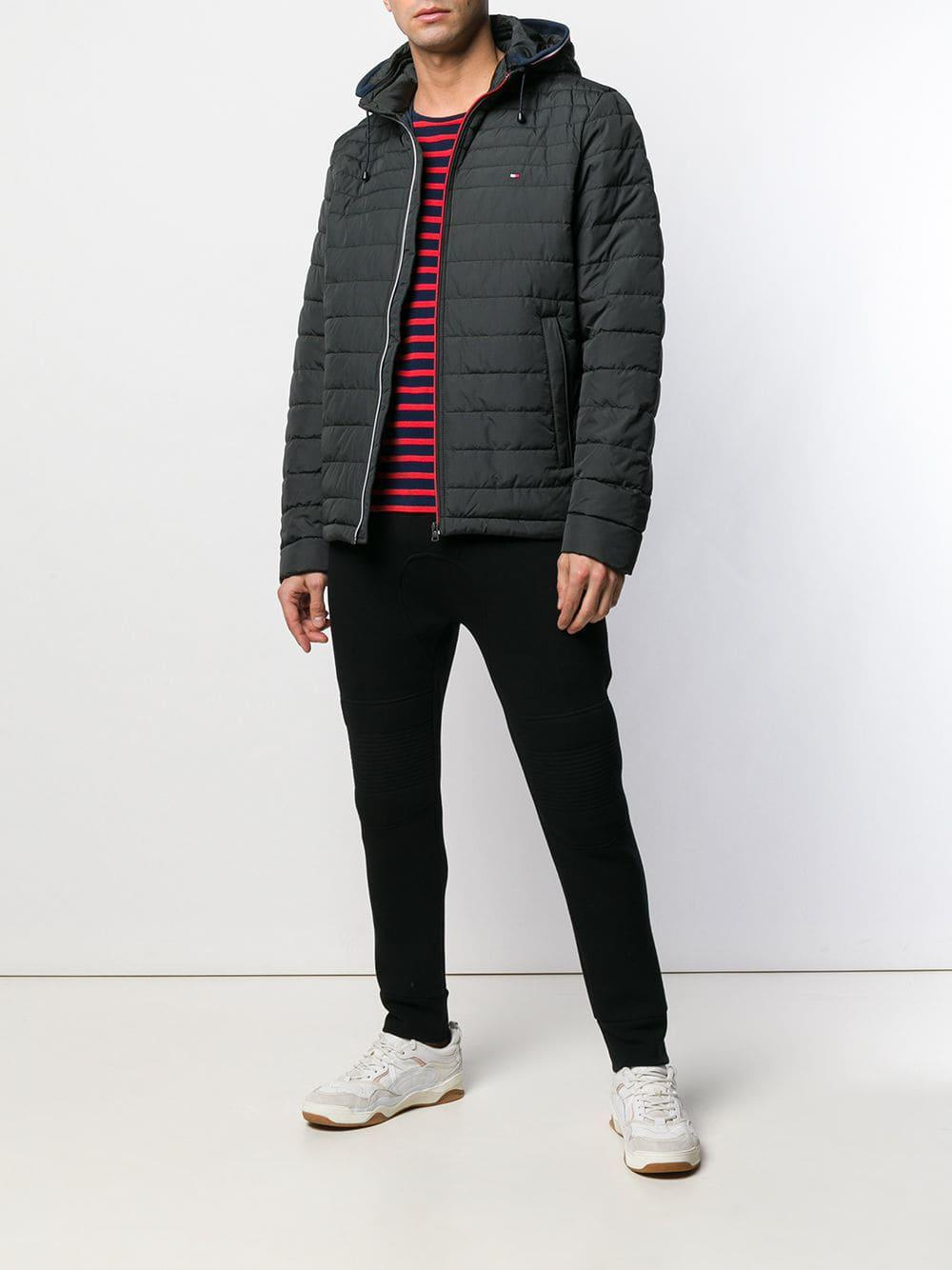 Tommy Hilfiger Quilted Hooded Jacket in Black for Men - Lyst