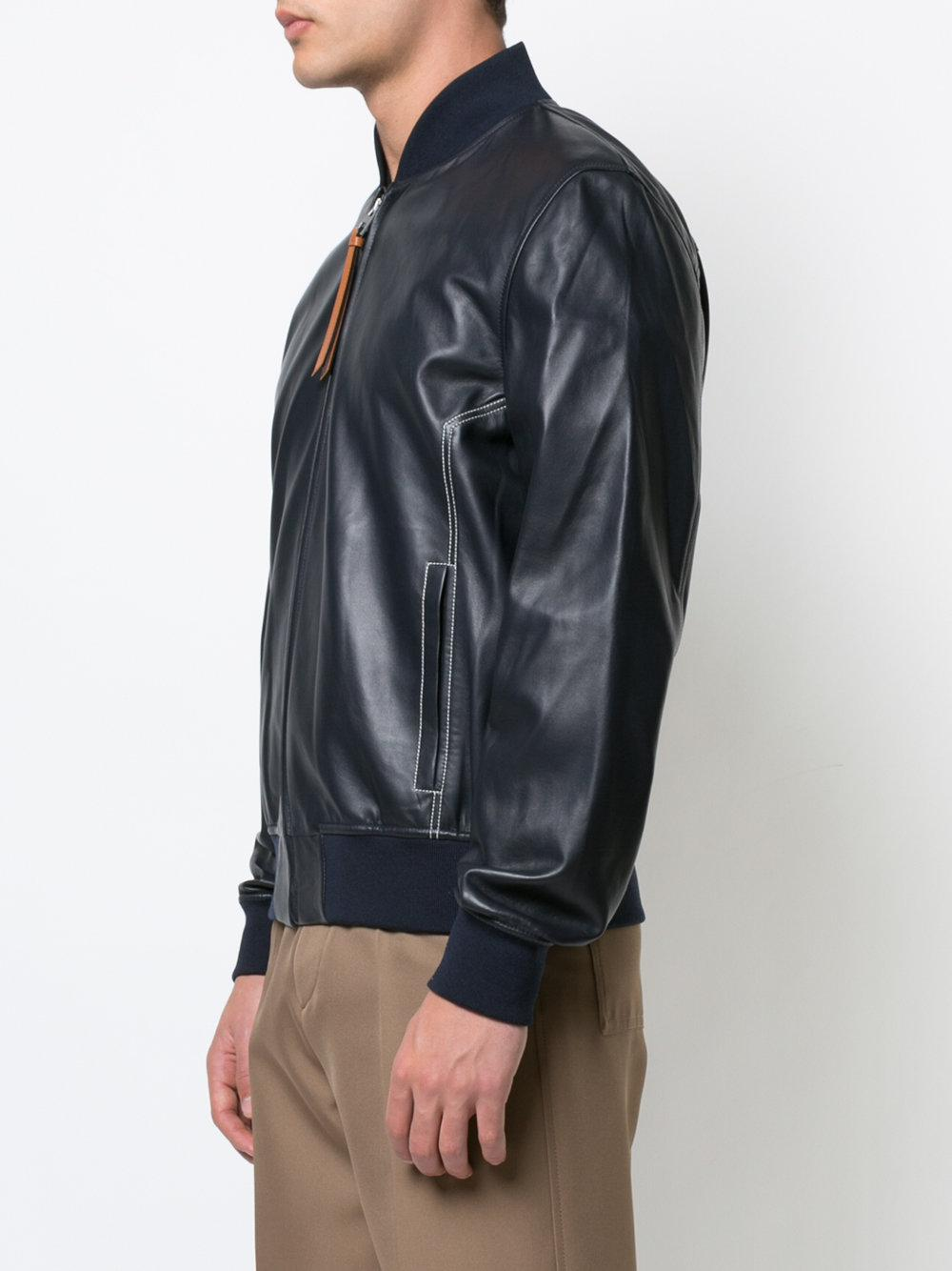 Black leather look bomber jacket