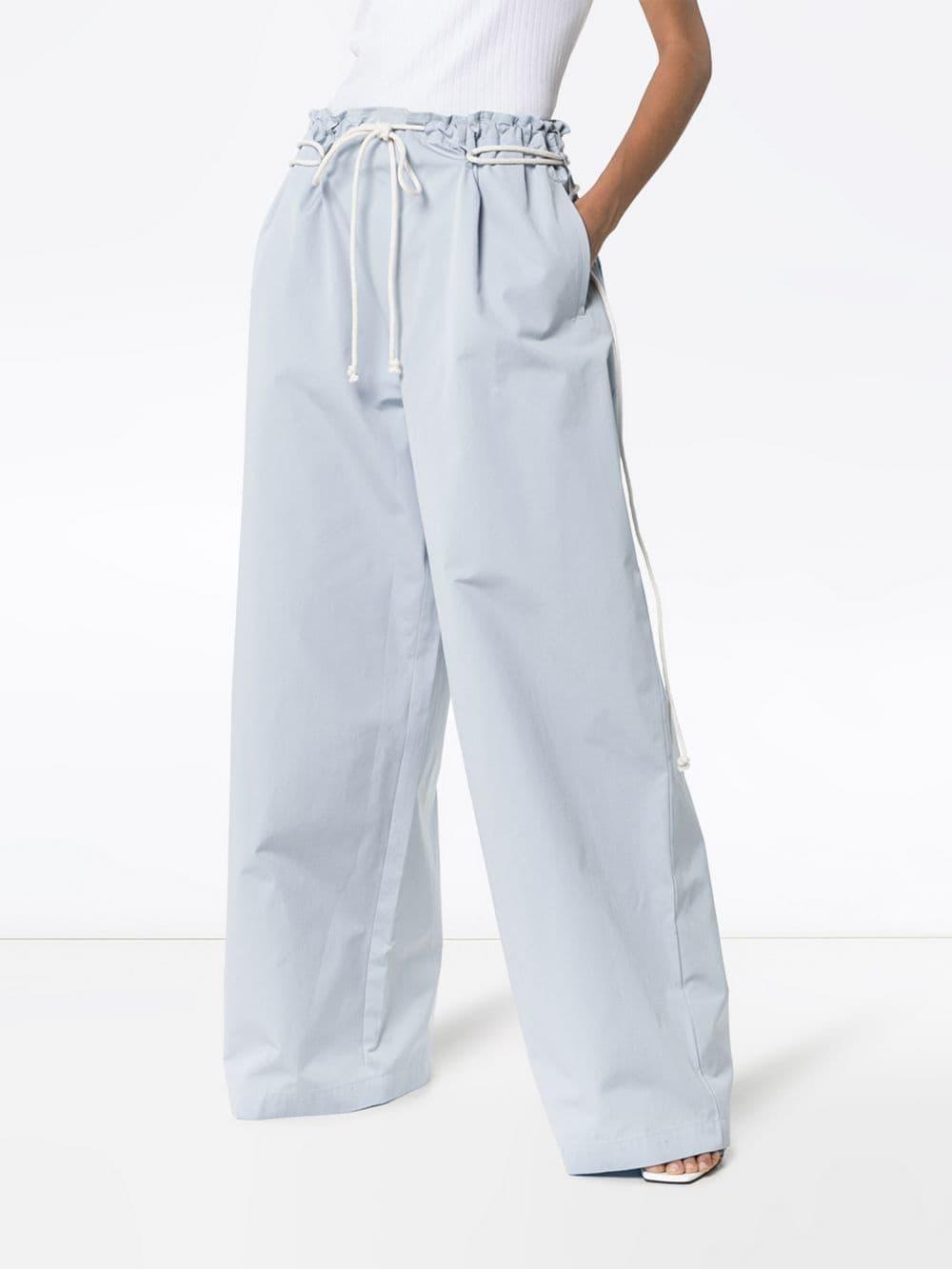 Pantalon évasé à détail de corde Coton Ambush en coloris Bleu