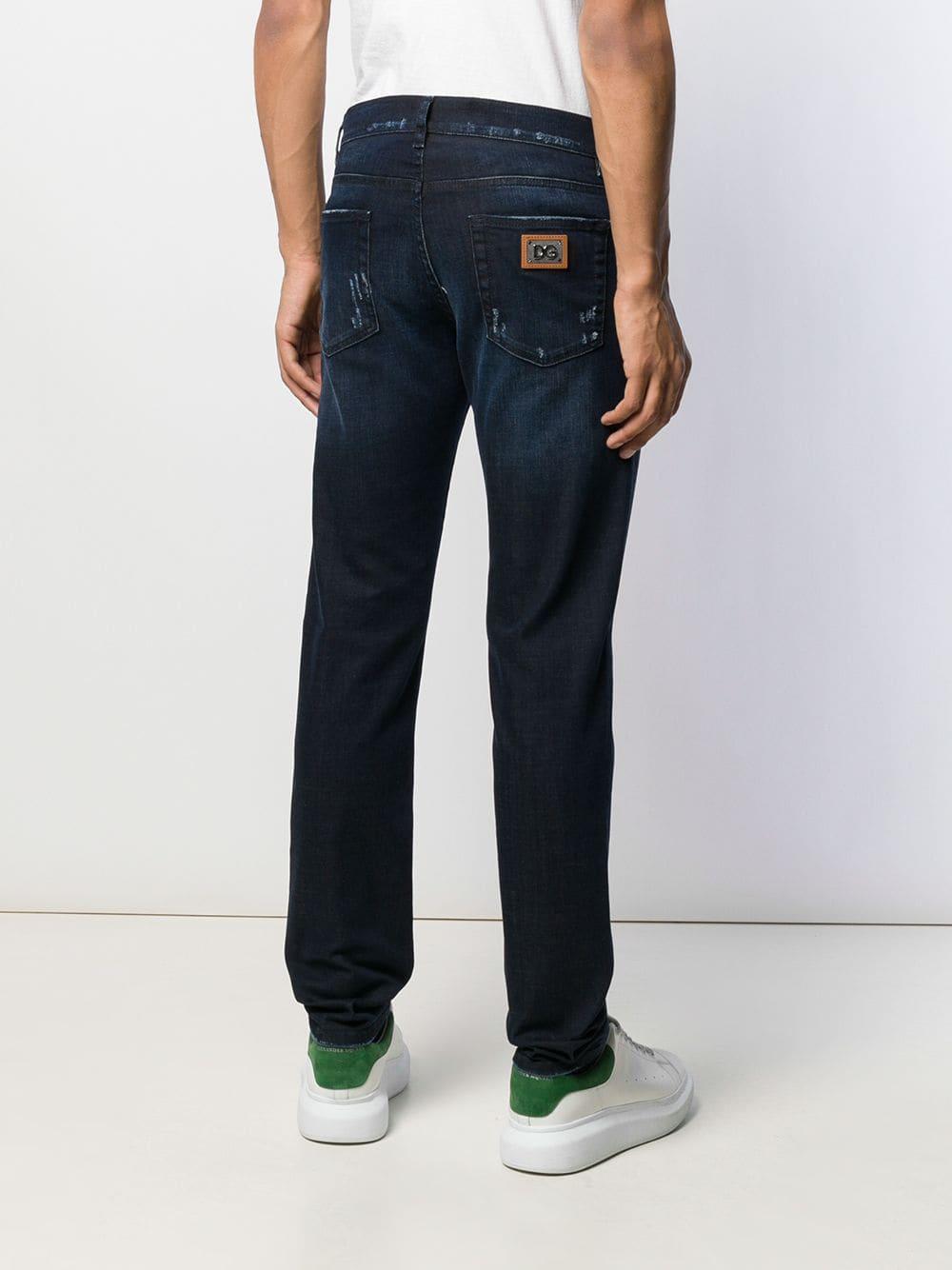 Dolce & Gabbana Denim Gerafelde Jeans in het Blauw voor heren