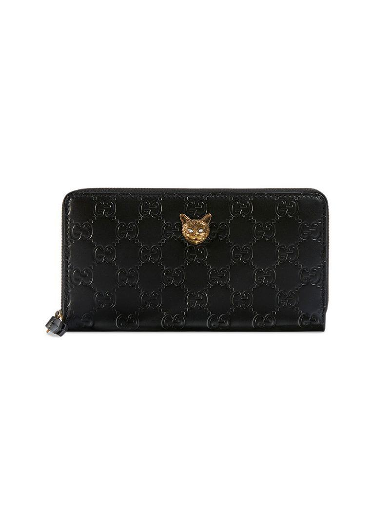 6afa09100501 Gucci Signature Zip Around Wallet With Cat in Black - Lyst