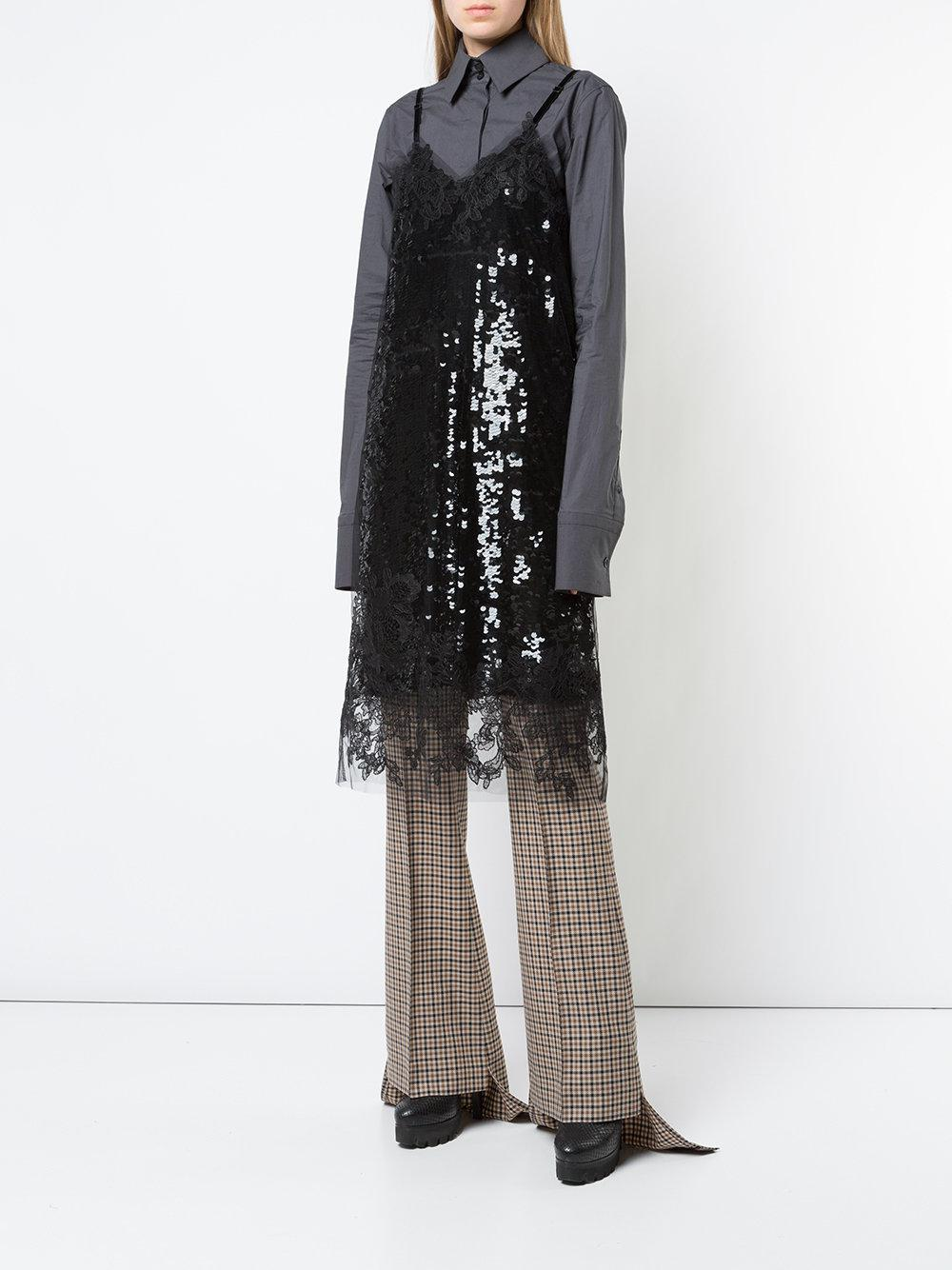 checked asymmetric flared trousers - Brown Vera Wang hljYN