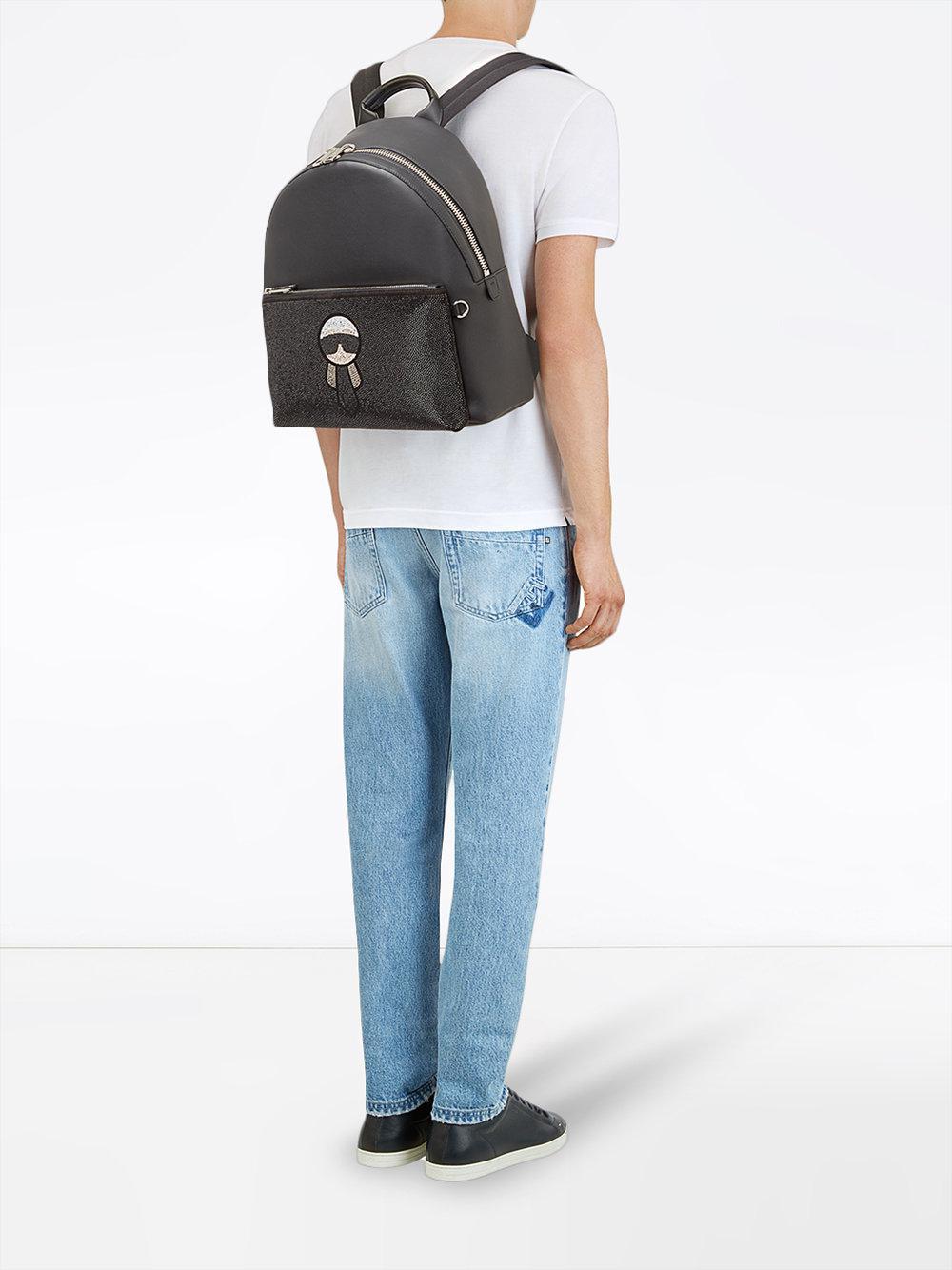 4359fa951fae Fendi Studded Karlito Backpack in Black for Men - Lyst