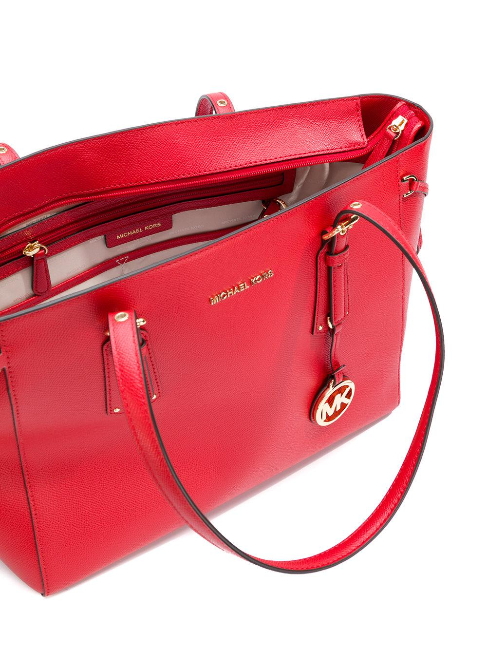 MICHAEL Michael Kors Leather Voyager Tote in Red