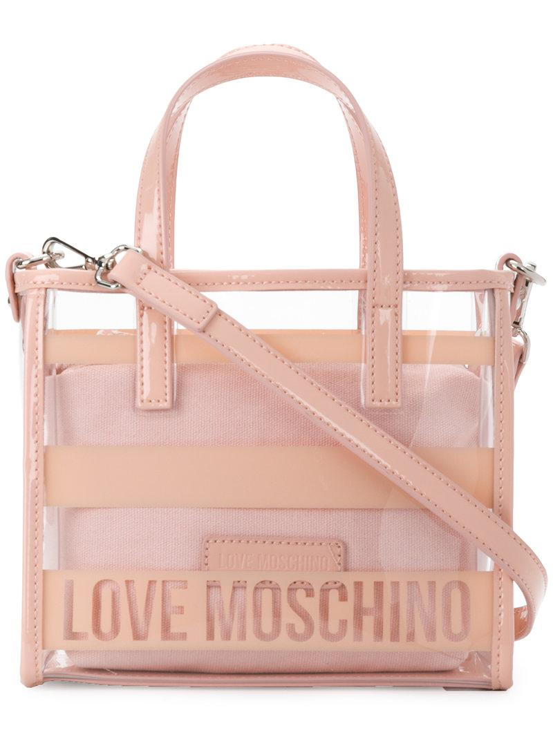 3f8f45730331e Love Moschino Clear Logo Crossbody Bag in Pink - Lyst