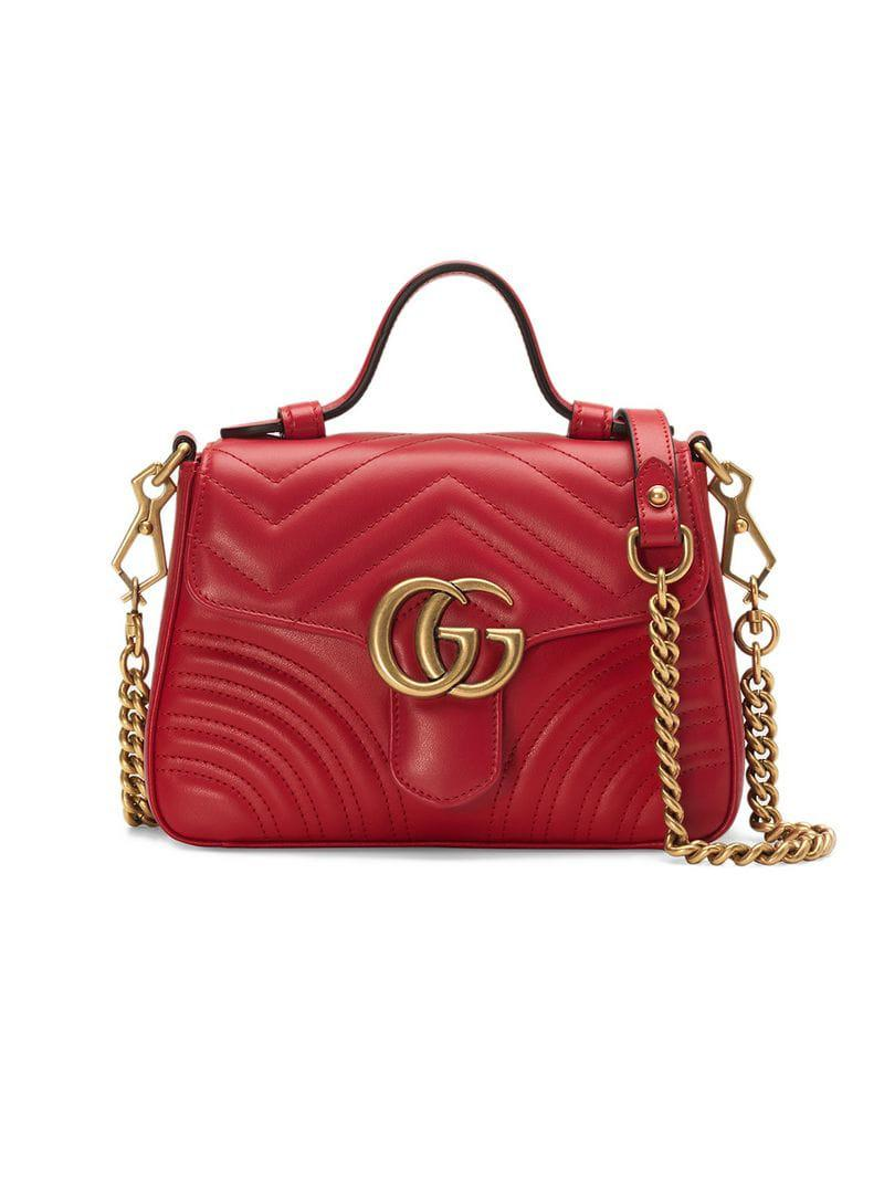 064e68b0549 Gucci Red GG Marmont Mini Top Handle Bag in Red - Save 17% - Lyst