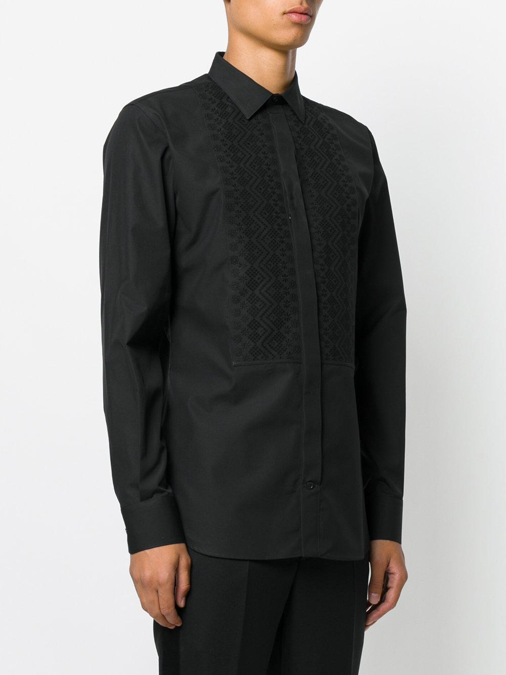 Lyst alexander mcqueen broderie anglaise shirt in black for Alexander mcqueen shirt men