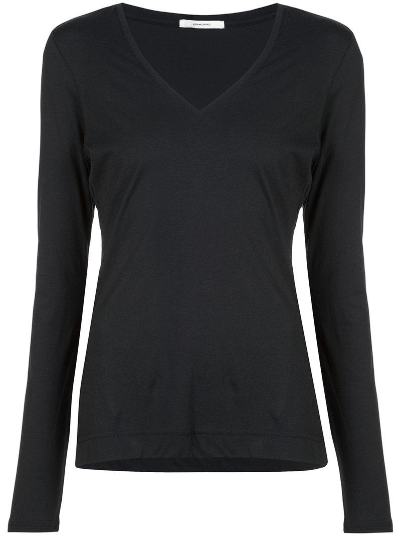 lyst adam lippes long sleeved v neck top in black