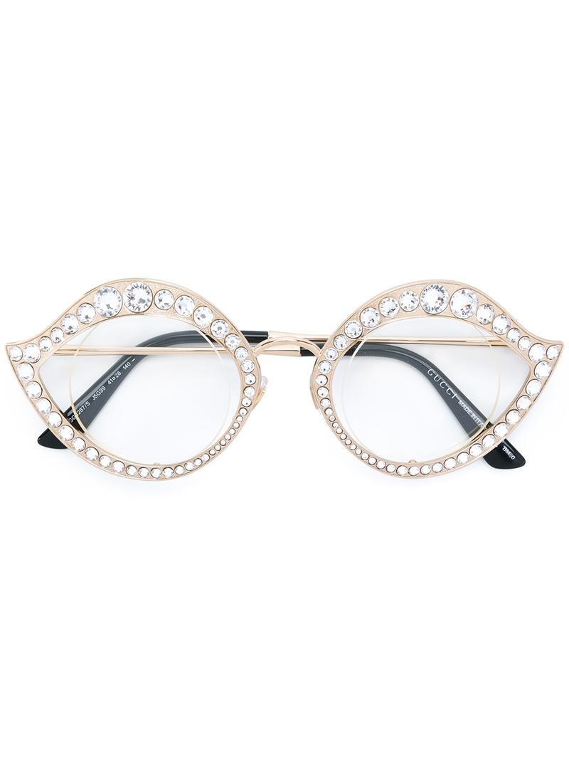 Lyst - Gucci Swarovski Crystals Embellished Glasses in Metallic