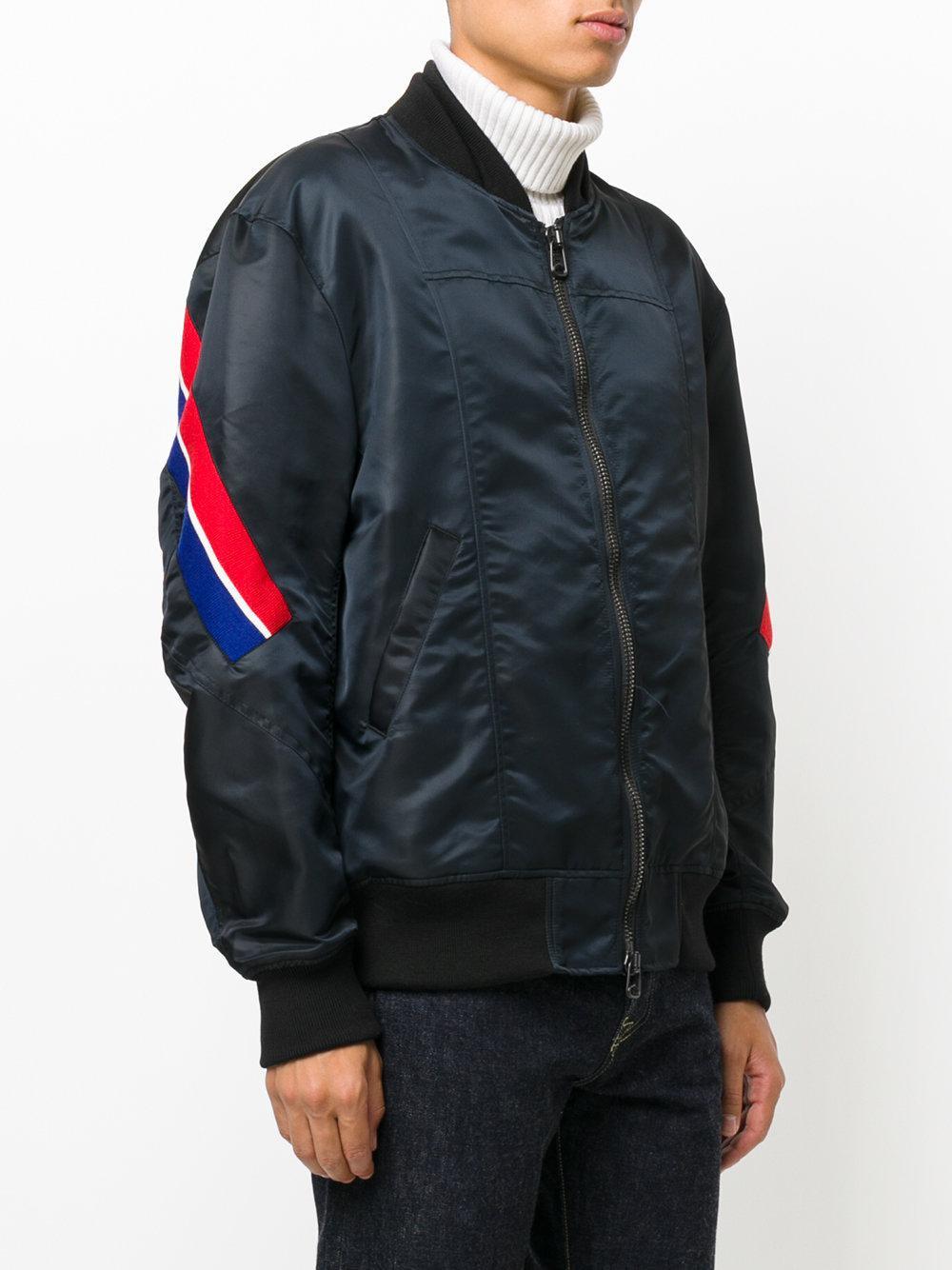 Facetasm Striped Bomber Jacket In Black For Men Lyst