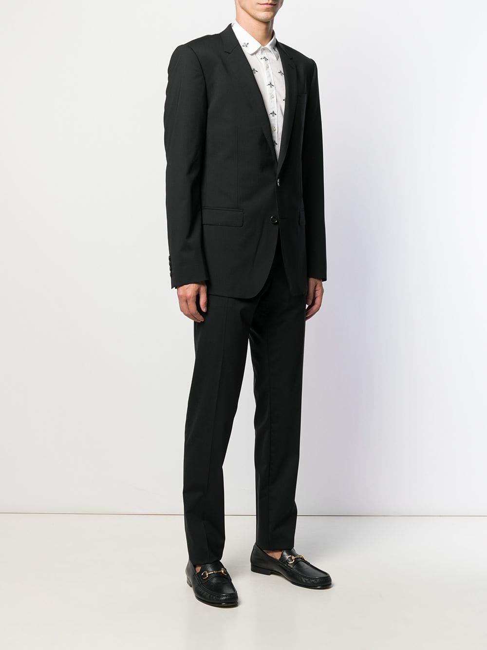 Dolce & Gabbana Wol Maatpak Met Enkele Rij Knopen in het Zwart voor heren