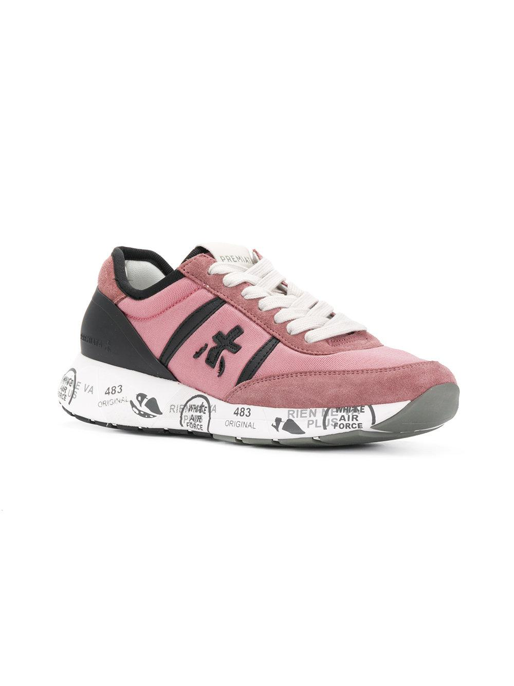 Premiata Leather Embroidered Detail Lace-up Sneakers in Pink & Purple (Pink)