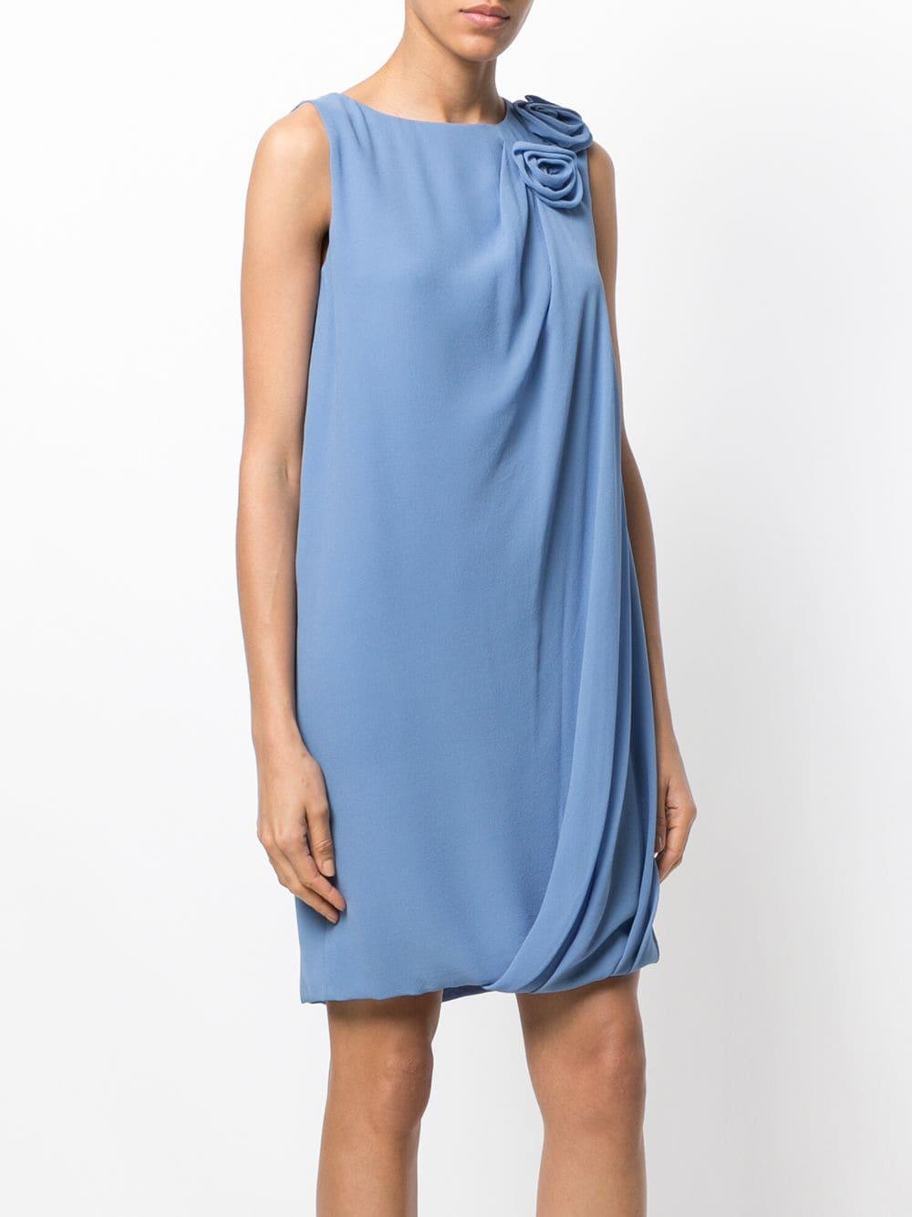 Robe courte à appliqués fleurs Soie Lanvin en coloris Bleu