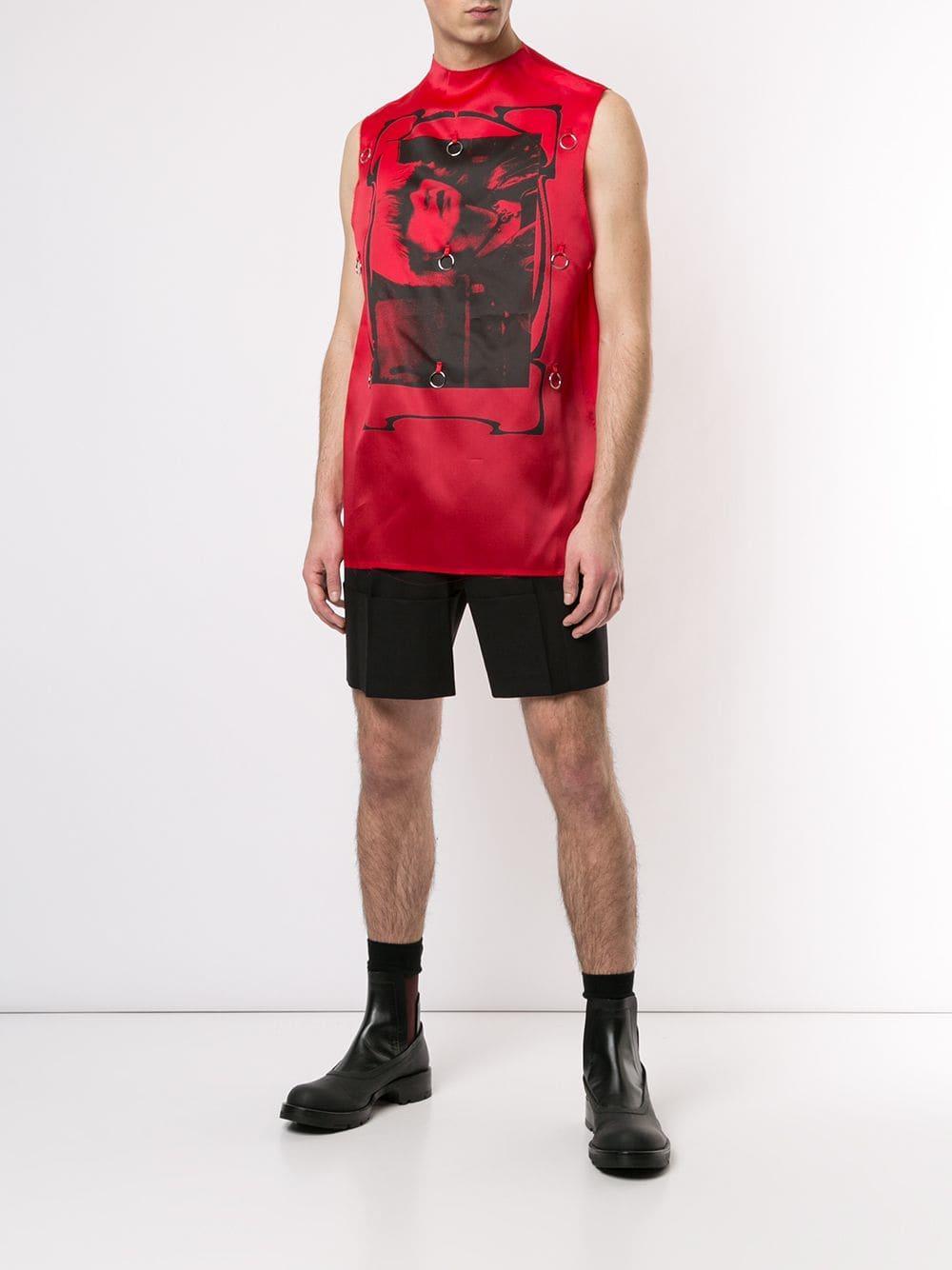Raf Simons Zijde Tanktop Met Toyah Print in het Rood voor heren
