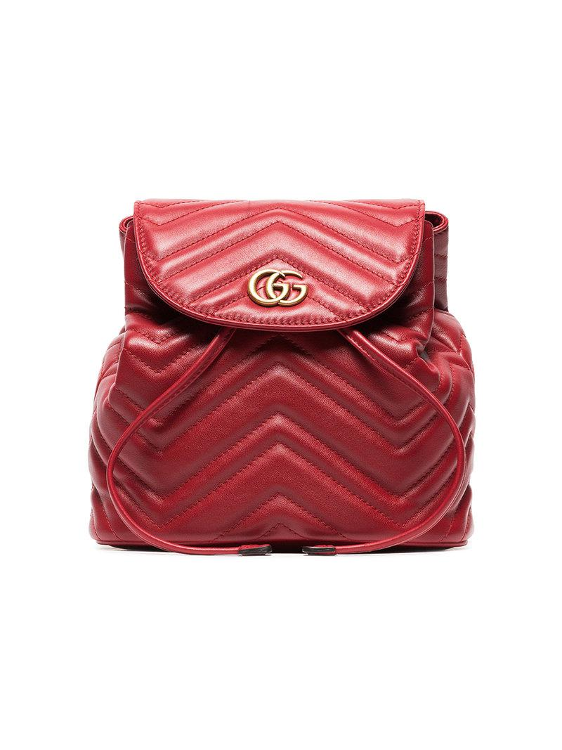 fb061376cacf Gucci Red Marmont Quilted Leather Backpack in Red - Save ...