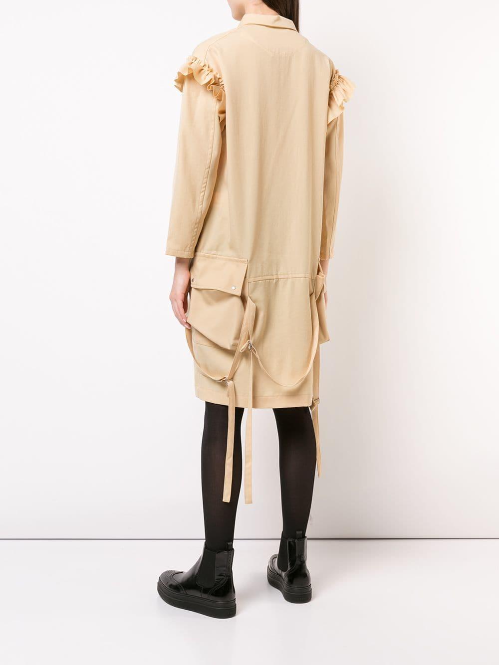 Robe mi-longue à volants Julien David en coloris Neutre