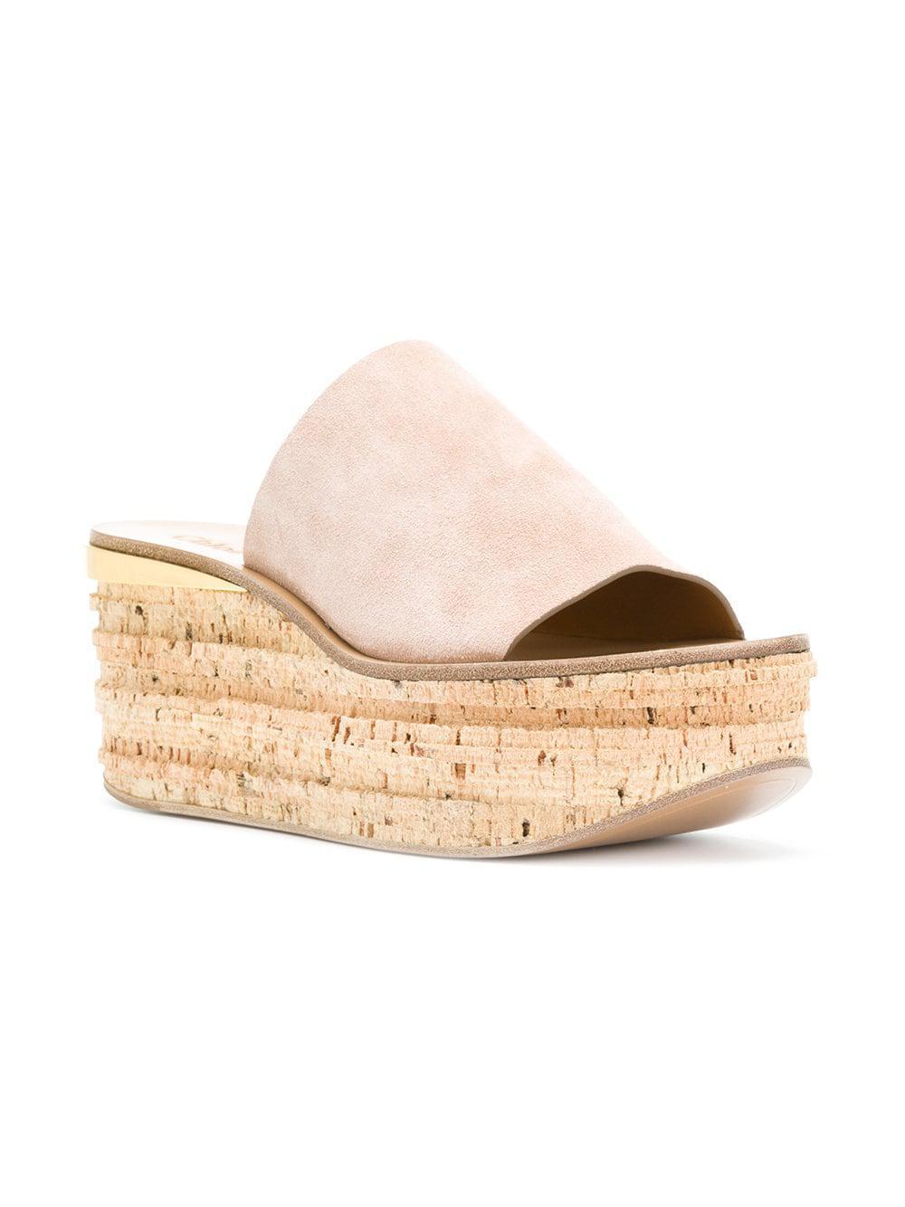 1a2ed5a15d76 Chloé - Pink Camille Suede Platform Sandals - Lyst. View fullscreen