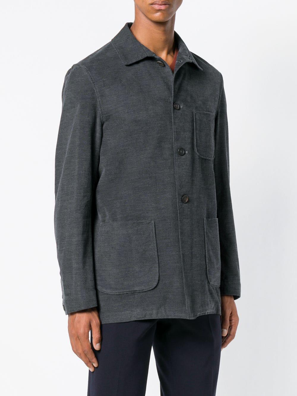 Lardini Katoen Overhemd Met Opgestikte Borstzak in het Grijs voor heren