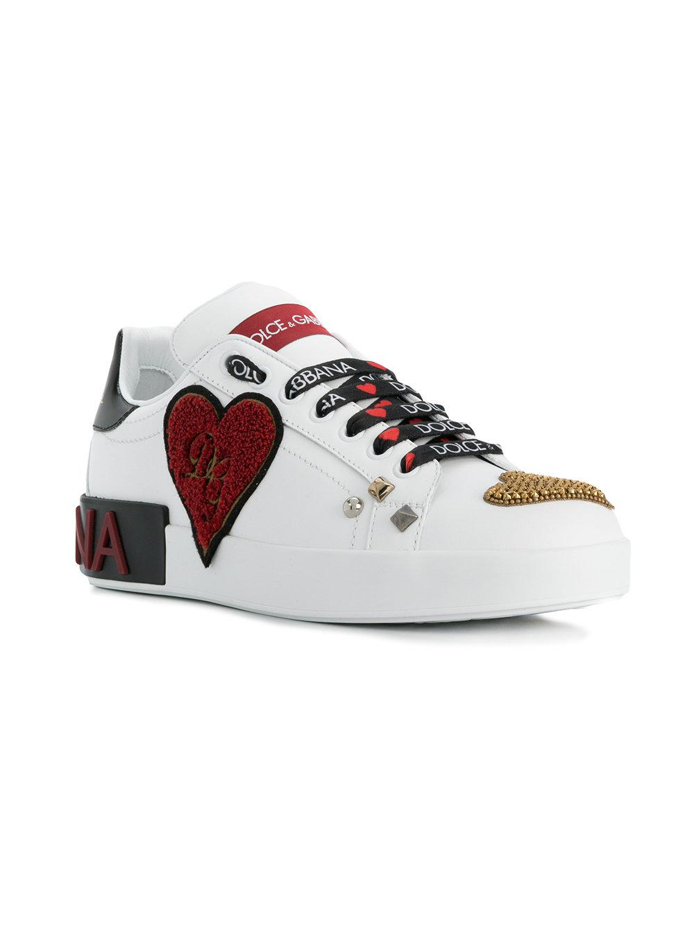 Dolce & Gabbana Leather Heart Embellished Sneakers in White