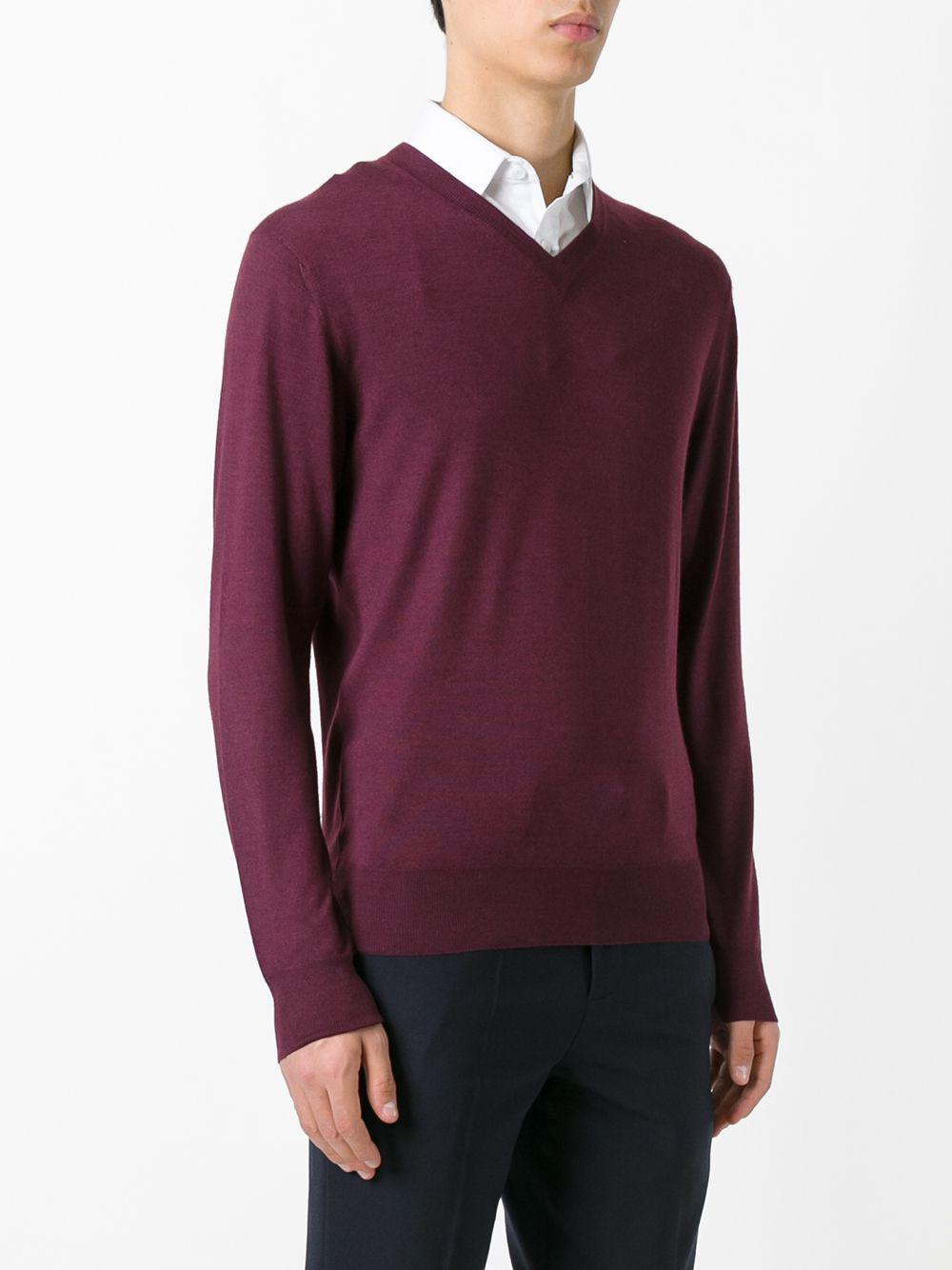 Cruciani Cashmere V Neck Sweater in Red for Men
