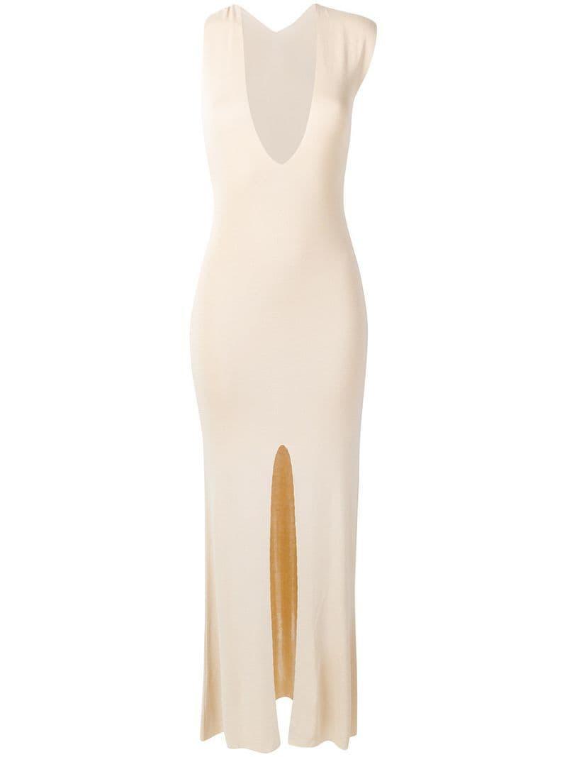 a1dcf6acc820 Lyst - Jacquemus V-neck Slit Detail Dress in Natural