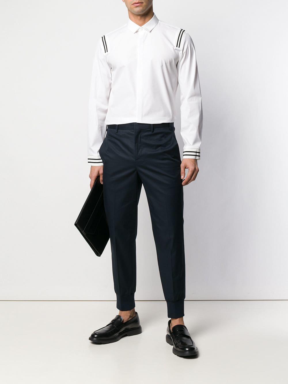 Neil Barrett Katoen Pantalon Met Elastische Boorden in het Blauw voor heren